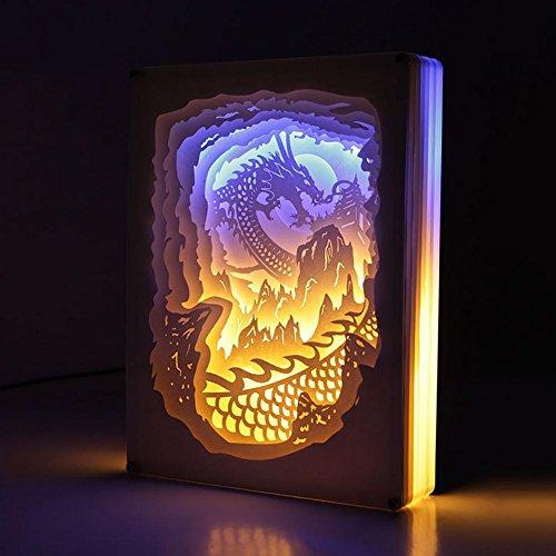 3D-Lampe Neuheit LED-Fernbedienung USB-Stereo-Papier Skulpturen Nachtlichter Chinesischer Drache