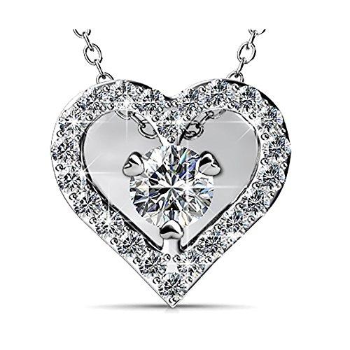 Fappac placcato al rodio con cristalli collana cuore arricchito con cristalli Swarovski