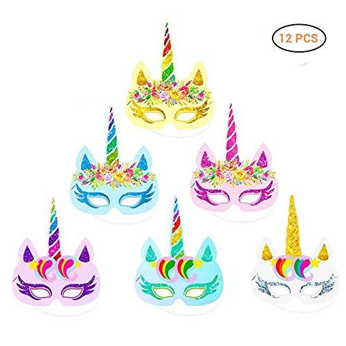 Surenhap 12 Piezas Máscara de Halloween Accesorio de Fiesta Infantil y Adultos de Unicornio Arcoiris para la Fiesta de Halloween