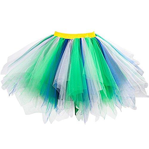 Honeystore Damen's Neuheiten Tutu Unterkleid Rock Ballet Petticoat Abschlussball Tanz Party Tutu Rock Abend Gelegenheit Zubehör Grün Weiß und Blau
