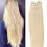 Tape Extensions Echthaar -100% Remy Echthaar Haarverlängerung glatt Hellblond,40cm-50g (20 stück)