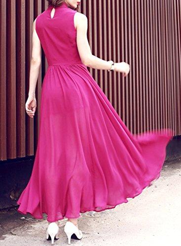 Futurino Women's Turtleneck Cut Out Front Sleeveless Split Evening Maxi Dress Hot Pink