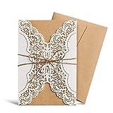 Wishmade invitations de mariage Kits Lot de 20Ivoire découpé au laser en dentelle avec fait à la main Corde pour mariage Quinceanera de mariage Cartes d'anniversaire