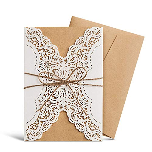 WISHMADE Hochzeit Einladungen Kits 20 Stück, ivory Lace Laser Schnitt mit Handgefertigt Seil für Ehe Quinceanera Brautschmuck Geburtstag Karten