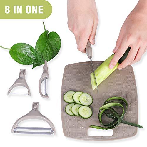 Igrome 8 IN 1 Sparschäler & Julienneschneider - Multifunktional-Schälerset für Gemüse und Obst, Schneidebrett Geeignet für die Küche, Outdoor Camping Wandern Picknick