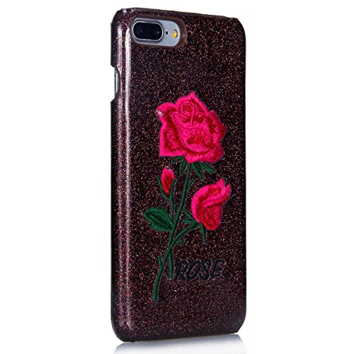 Custodia iPhone 7 Plus, iPhone 7 Plus Cover Glitter, SainCat Custodia in PC Protettiva Hard Cover per iPhone 7 Plus 5.5, Bling Glitter 3D Design Hard Case Shock-Absorption Ultra Slim Sottile Custodia  Brown Inferiori Rose Rosse