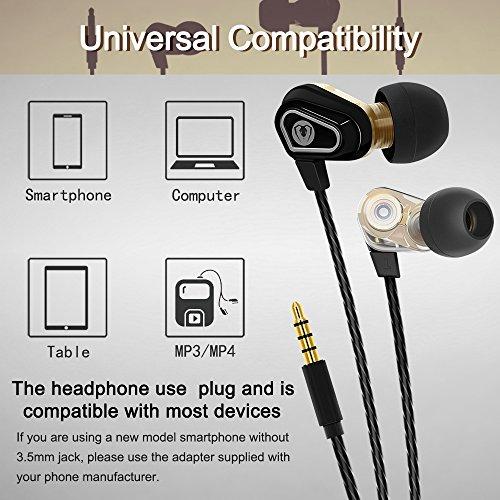 Beexcellent In Ear Kopfhörer, Dual Dynamic Treiber Bass Kopfhoerer Noise Cancelling Ohrhörer mit Mikrofon für iPhone Android Smartphones Tablets MP3 Player - 5