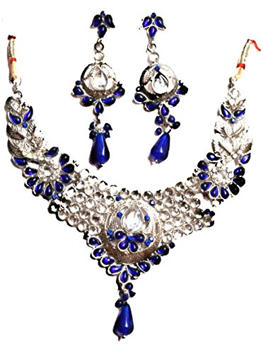 Gaurav Gemstones Silver Coated Elegant Blue Tone Necklace Set for Beautiful Women & Girls