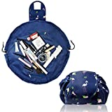 Lazy Drawstring Make up Bag Portable Large Travel Cosmetic Bag Pouch Travel Makeup Pouch Storage Organiser for Women Girl (Navy Flamingo)