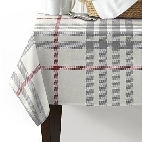 Rot Rustikal Esstisch (Tischdecke waschbar Baumwolle Leinen, rustikal, Grau Elfenbein Rot Büffelkaro, Tischdecke für Küche Esstisch Esstisch Leinen-Dekor rechteckig rechteckig, Leinen, Grey Ivory Red Check Plaid, 53x70inch)