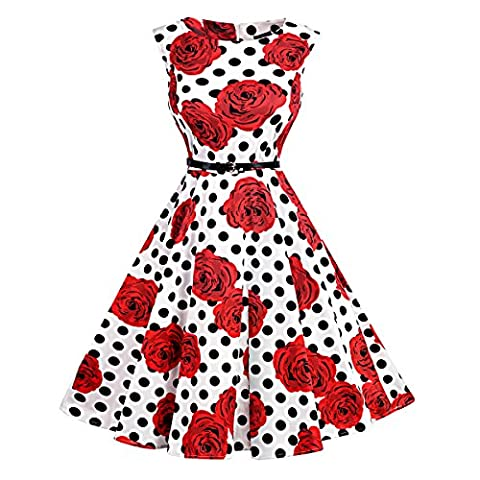 Women Round Neck Sleeveless Polka Dots 1950s Vintage Dress Swing Cocktail Dress Homecoming Dresses