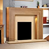 Oak Wood Surround Mantel Hearth Wall Modern Electric Fire Fireplace Suite Spotlights Downlights 48""