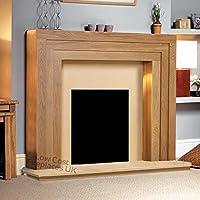 "Oak Wood Surround Mantel Hearth Wall Modern Electric Fire Fireplace Suite Spotlights Downlights 48"""