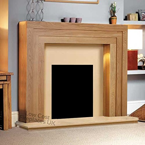 Oak Wood Modern Surround Back Panel Hearth Electric for sale  Delivered anywhere in UK
