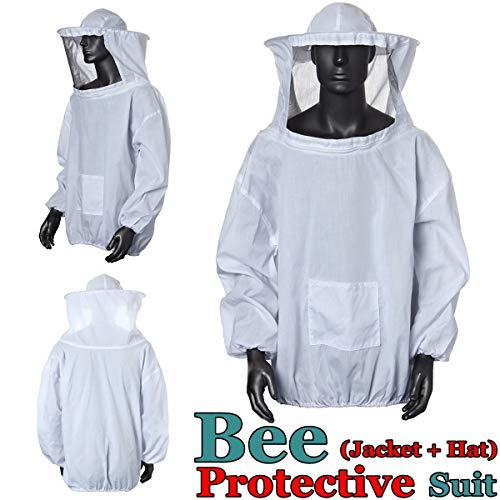 Bee traje, OUTERDO chaqueta de perchero de pared de traje de bata velo Apicultura apicultor equipo de protección con sombrero