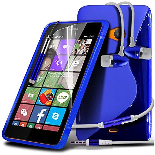 ONX3® (blau) Microsoft Lumia 540 Dual Sim Hülle Abdeckung Cover Case schutzhülle Tasche Custom Made Fall nach Maß S zeichnen Wellen Gel Kasten Haut Abdeckung mit LCD Display Schutzfolie, Poliertuch, Aluminium In Ear Ohrhörer Stereo Ohrhörer Hands Free & Mini Retractable Stylus Pen