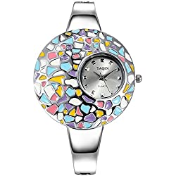 ufengke® fashion jelly painted surface wrist watch for ladies girls,elegant dress bracelet watch,silver