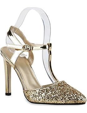 Damen Spitze Pumps | Stiletto High Heels | Glitzer Schuhe Hochzeit | Brautschuhe Abendschuhe | Nieten Slingpumps...