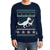 Weihnachten Lustiges Motiv T-Rex Vs Rentier Geschenk Sweatshirt Medium Marineblau