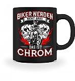 Shirtee Hochwertige Tasse - Motorradfahrer Biker Motorrad Totenkopf Bikerin alt werden Chrom Geschenk