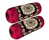 Rj Products Chenille Velvet Luxury Bolsters Cover (16 X 32) - Pack of 2 Maroon