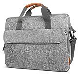 XHHWZB Laptoptasche 15,6 Zoll Aktentasche Schulter Messenger Bag Wasserabweisend Laptoptasche Satchel Tablet Bussiness Tragetasche Laptoptasche für Frauen und Männer-Grau