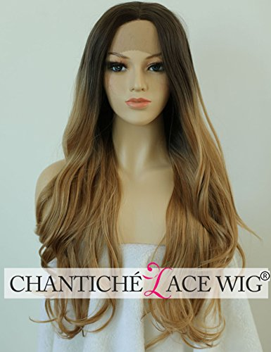 Chantiche Wavy Wigs for Women Long Synthetic Hair Ombre Brown Roots Blonde Lace Front Wig uk for Women High Quality Heat Resistant Fiber Half Hand Tied 24 inches (Full Blond Lace Perücken)