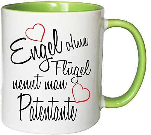 Mister Merchandise Kaffeebecher Tasse Engel ohne Flügel nennt Man Patentante Schwanger Baby Pate Beste Freundin Tantchen Schwester Teetasse Becher Weiß-Grün Tasse Baby-tassen