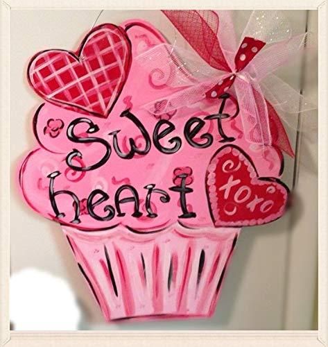 Zhaoshoping Valentinstag Türhänger zum Valentinstag/Kranz/Cupcake/Türhänger aus Holz, Valentinstag/Tür-Deko, lustiges Zitat, Schild für Zuhause, für Damen und Herren