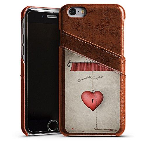 Apple iPhone 4 Housse Étui Silicone Coque Protection C½ur Phrase Clés Étui en cuir marron