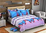Bombay Dyeing Kallol Datta 210 TC Cotton Double Bedsheet with 4 Pillow Covers Blue