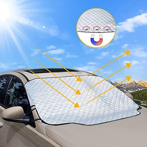 unibelin Frontscheibenabdeckung Scheibenabdeckung Auto Sonnenschutz Abdeckung Magnet Fixierung Faltbare Windschutzscheibe Auto Abdeckung perfekte gegen UV-Strahlung, Sonne, Staub, EIS, Frost, Schnee