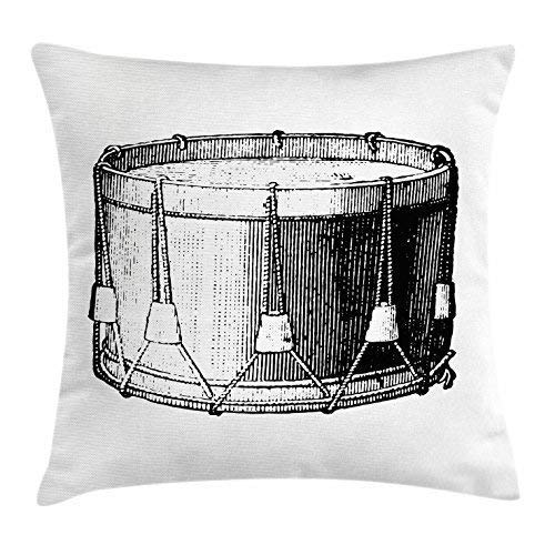 Snare Drum Throw Pillow Cushion Cover, Vintage Illustration of Antique Instrument Historic Old Arts Melody Performance, Decorative Square Accent Pillow Case, 18 X 18 inches, Black White Old Navy Performance-fleece