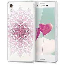 kwmobile Funda TPU silicona transparente para Sony Xperia M4 Aqua en rosa claro blanco transparente Diseño estampado con corazones