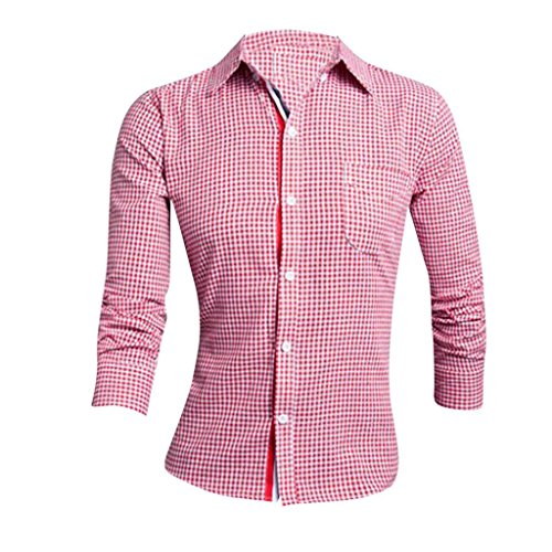 Jeansian Hommes Chemise Casual Manches Longues Slim Fit Trend Fashion Mens Shirt 8654 red
