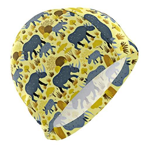 KIMIOE Schwimmhaube Badekappe Endangered Rhino Yellow Desert Lycra 3D Ergonomic Design Swim Cap Swimming -