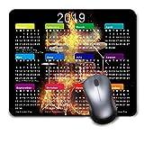 Mauspad für Gaming Mousepad, bequem, gummierte Unterseite, Rutschfest für Computer, Laptop, personalisierbares rechteckiges Mauspad 2019, Kalender-Flammendes Skelett-Schlagzeug-Set