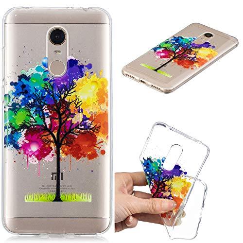 Nadoli Transparent Hülle für Xiaomi Redmi 5 Plus,Öl Gemälde Baum Malerei Muster Crystal Kirstall Ultra Dünn Durchsichtige Schutzhülle Bumper für Xiaomi Redmi 5 Plus,Öl Gemälde Baum