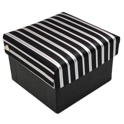 ohne Markenname Krawattenbox in schwarz silber grau gestreift
