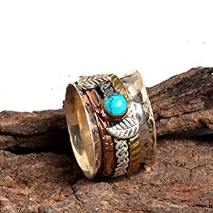 Meditationsringe, Spinnerringe, Silberringe für Frauen, Spinning Ring for Women, Floral Textured Spinner Band Rings, Anxiety Ring for Meditaion, 925 Sterling Silver Spinner Band Rings