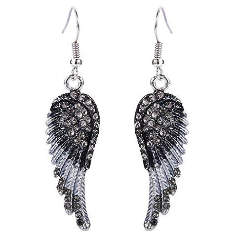 Ever Faith österreichischen Kristall Engel Flügel Hoop Ohrringe Silber-Ton - schwarz N01064-1