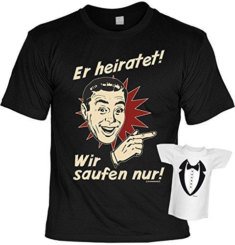 Junggesellenabschied witziges T-Shirt für Junggesellenfeier Ehe JGA Shirts JGA Outfit JGA Polterabend Hochzeit Er heiratet! Wir saufen nur! Schwarz