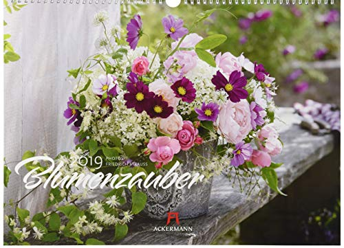 Blumenzauber 2019, Wandkalender im Querformat (45x33 cm) - Blumenkalender mit Monatskalendarium