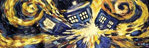Doctor Who Exploding Tardis TV Show Poster (Van Gogh's Exploding Tardis) Poster...
