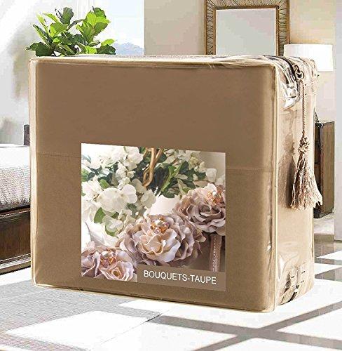 Luxus Bettbezug Set auf Amazon.–höchste Qualität eleganten Komfort faltenfrei 1500Fadenzahl Ägyptische Qualität 3-teiliges Bettbezug Set–Blumen Collection, Mikrofaser, taupe, Twin/Twin - Königin Taupe Bettbezug