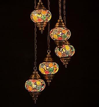 New Turkish Moroccan Mosaic Glass Handmade Ceiling Hanging Light Lamp 5 Lamp