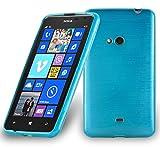 Cadorabo DE-104797 Nokia Lumia 625 Handyhülle aus TPU Silikon in gebürsteter Edelstahloptik (Brushed) Türkis