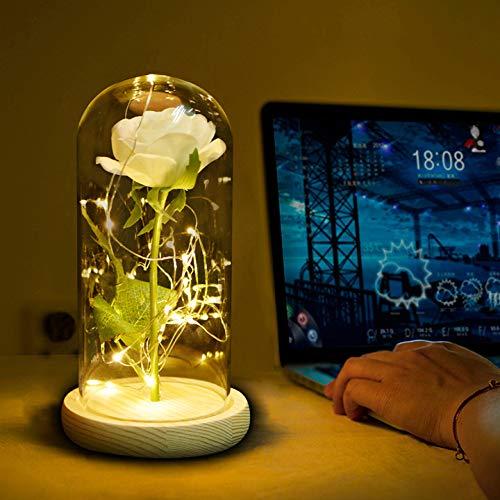 Smaqz led night light - eternal rose glass cover san valentino gift white flower log base 22 *   12 * 8.5cm