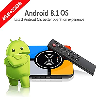 Android 8.1 TV Box,Runsnail Newest S10 Plus Smart TV Box with Wireless Charging 4GB+32GB RK3328 Quad-Core 64bit Support 4K 3D 2.4G WIFI AV Set Top Box