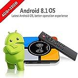 Android 8.1TV Box, runsnail Neueste S10Plus Smart TV Box mit Wireless Ladekabel 4GB + 32GB RK3328Quad-Core 64bit unterstützt 4K 3D 2.4G Wifi AV Set-Top-Box